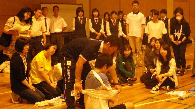 増田高校見学応急処置